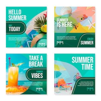 Hand getekend zomer instagram posts collectie met foto Gratis Vector