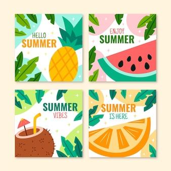 Hand getekend zomer instagram posts collectie