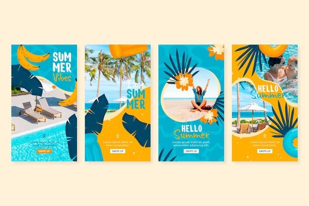 Hand getekend zomer instagram verhalencollectie met foto