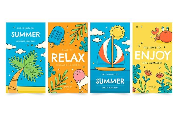 Hand getekend zomer instagram verhalencollectie