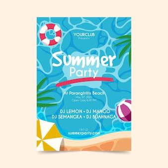 Hand getekend zomer partij flyer sjabloon
