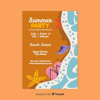 Hand getekend zomer partij poster sjabloon