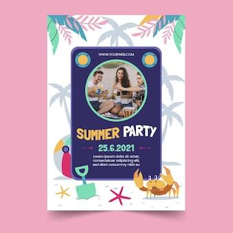 Hand getekend zomer partij verticale poster sjabloon met foto