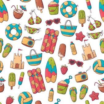 Hand getekend zomer patroon