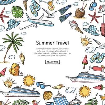 Hand getekend zomer reizen elementen