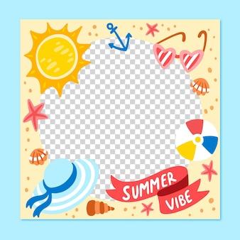 Hand getekend zomer social media frame sjabloon