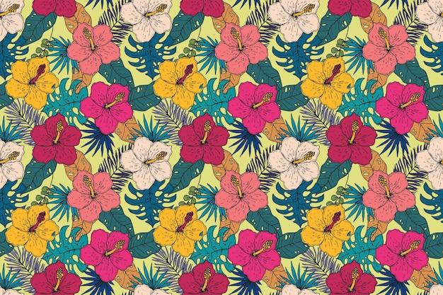 Hand getekend zomer tropisch patroon