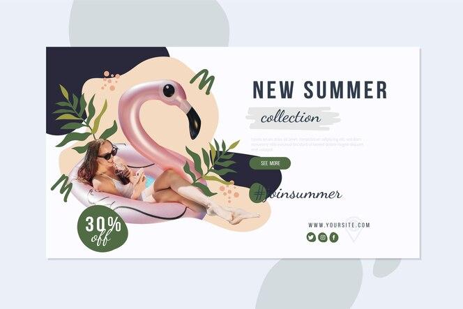 Hand getekend zomer verkoop banner met foto