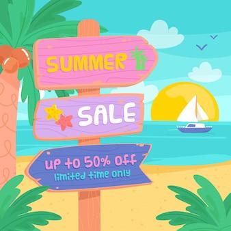 Hand getekend zomer verkoop concept