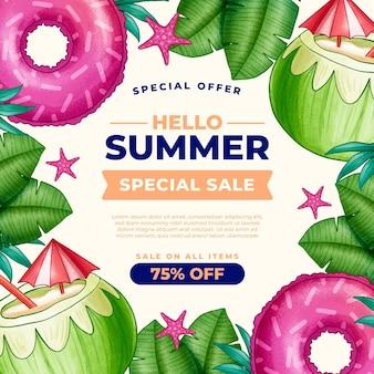 Hand getekend zomer verkoop illustratie