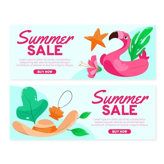 Hand getekend zomer verkoop sjabloon voor spandoek met foto