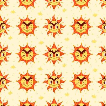Hand getekend zon patroon