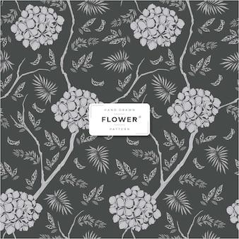 Hand getekend zwart bloemen naadloos patroon
