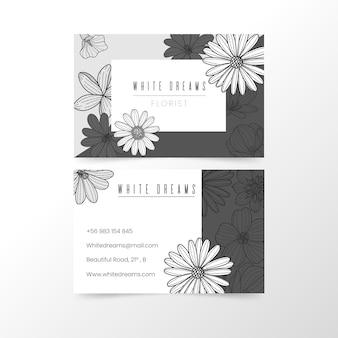 Hand getekend zwart-wit bloemen visitekaartje