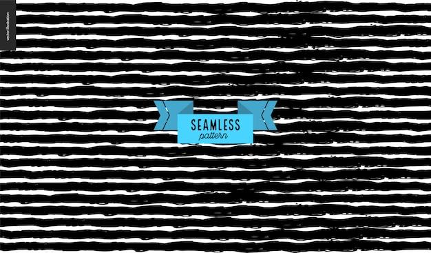 Hand getekend zwart, wit patroon. vector naadloos patroon