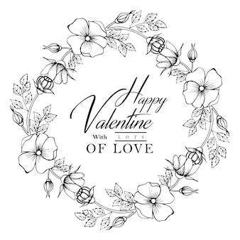 Hand getekend zwart-wit valentine bloemen krans