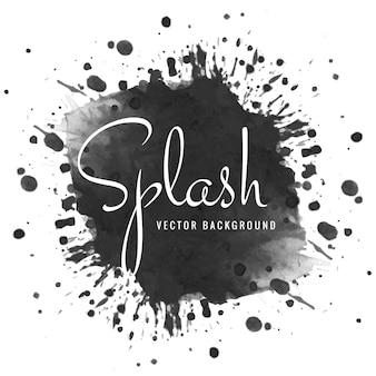 Hand getekend zwart zacht aquarel splash ontwerp
