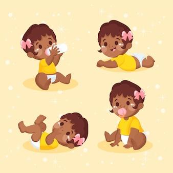 Hand getekend zwarte baby collectie