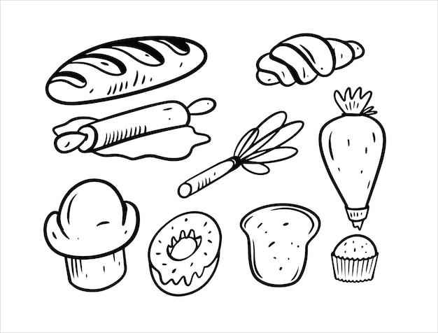 Hand getekend zwarte kleur bakkerij elementenset geïsoleerd op wit