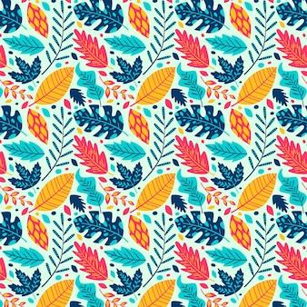 Hand getekende abstracte bladeren patroon Gratis Vector