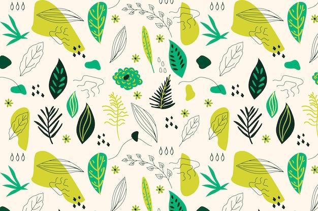 Hand getekende abstracte bladeren patroon