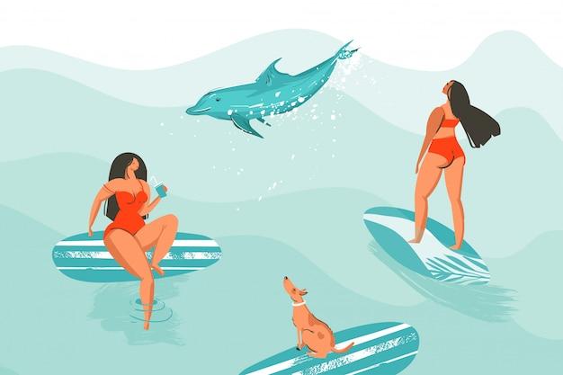Hand getekende abstracte cartoon grafische zomertijd grappige illustratie