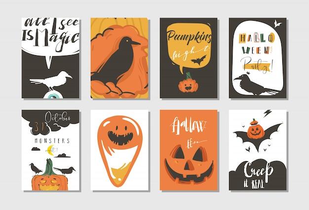 Hand getekende abstracte cartoon happy halloween illustraties partij posters en collectie kaarten set met raven, vleermuizen, pompoenen en moderne kalligrafie op witte achtergrond,