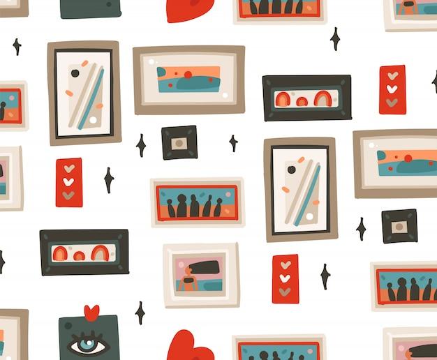 Hand getekende abstracte cartoon moderne frames foto's naadloze patroon illustraties kunst op witte achtergrond