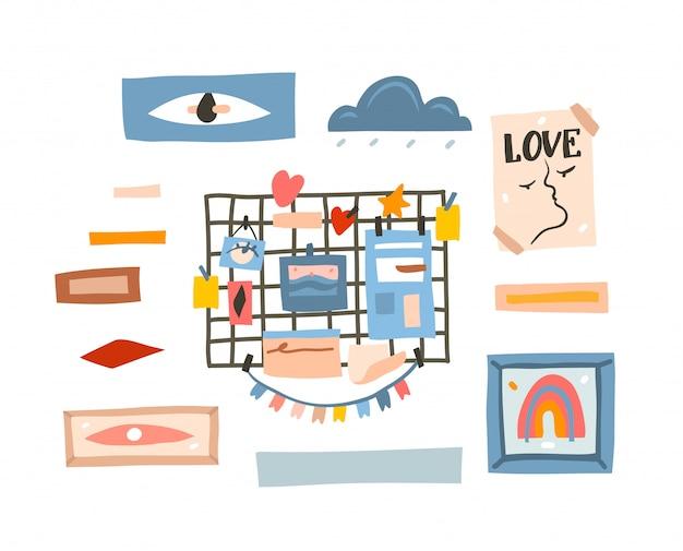 Hand getekende abstracte cartoon moderne grafische eenvoudige stijl tekening moodboard en lijst illustratie op witte achtergrond te doen
