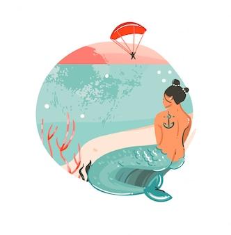 Hand getekende abstracte cartoon zomertijd grafische illustraties kunst sjabloon achtergrond logo ontwerp met oceaan strand landschap, zonsondergang en schoonheid zeemeermin meisje met kopie ruimte plek voor uw tekst