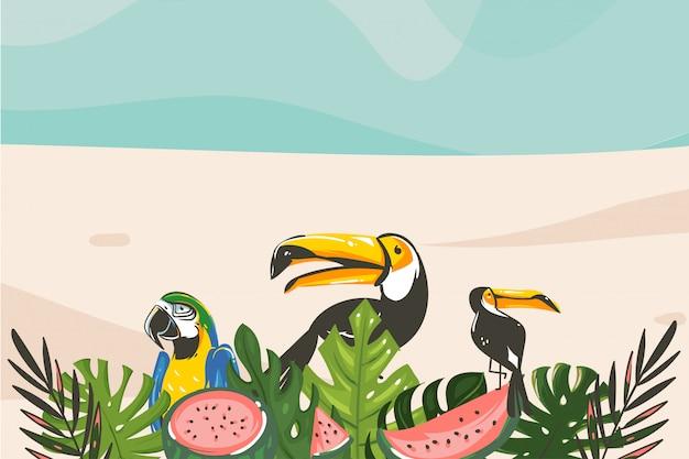 Hand getekende abstracte cartoon zomertijd grafische illustraties kunst sjabloon achtergrond met oceaan strand landschap, tropische palmboom en exotische toekan vogel