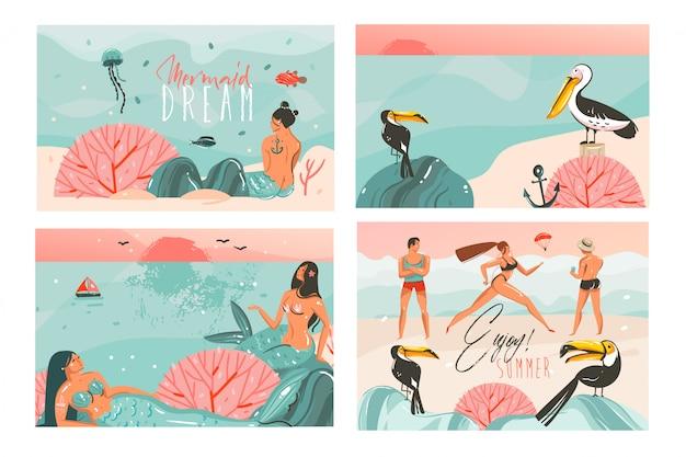 Hand getekende abstracte cartoon zomertijd illustraties kaarten sjabloon collectie set met strandmensen, zeemeermin en walvis, zonsondergang en tropische vogels op witte achtergrond