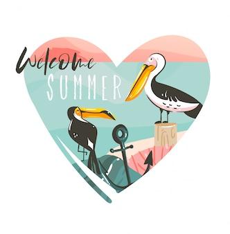 Hand getekende abstracte cartoon zomertijd strand grafische illustraties sjabloon logo achtergrond in hartvorm met oceaan strand landschap, toekan, pelinan vogels en welcom zomer typografie tekst