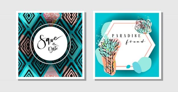 Hand getekende abstracte creatieve collage uit de vrije hand geweven bewaar de datum wenskaarten collectie set sjabloon met sappige bloemen en cactusplanten. bruiloft, bewaar de datum, verjaardag, rsvp