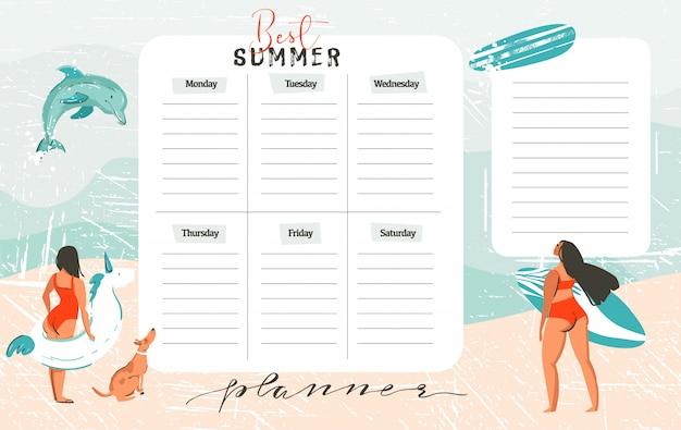 Hand getekende abstracte exotische zomertijd grappig beste zomer wekelijks organiseren paginasjabloon met surfermeisjes, surfplank, hond, eenhoorn drijf fing boei geïsoleerd op op blauwe oceaan golven water
