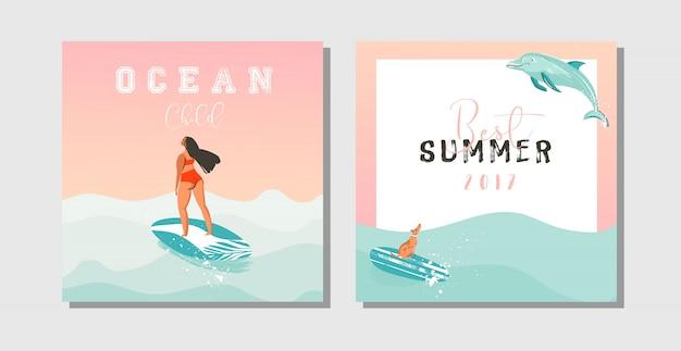 Hand getekende abstracte exotische zomertijd grappig sparen de datumkaarten instellen collectie sjabloon met surfer meisjes, surfplank, hond, zonsondergang en typografie citaat op op blauwe oceaan golven water