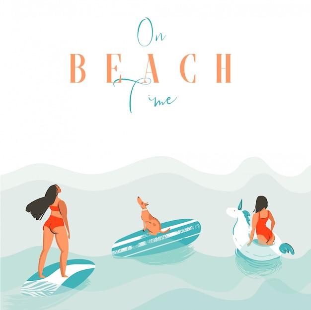 Hand getekende abstracte exotische zomertijd grappige illustratie met surfer meisjes, unicorn float, surfplank en hond op blauwe oceaan golven met moderne kalligrafie op strandtijd