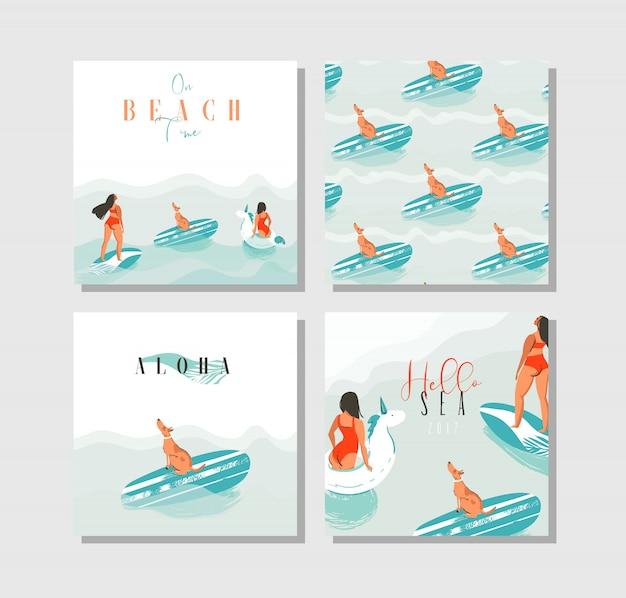Hand getekende abstracte exotische zomertijd grappige kaarten instellen collectie sjabloon met surfer meisjes, unicorn float, surfplank en hond op op blauwe oceaan golven water