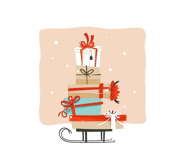 Hand getekende abstracte leuke merry christmas shopping tijd cartoon groet illustratie kaart met vele kleurrijke verrassing geschenkdozen op slee op witte achtergrond.