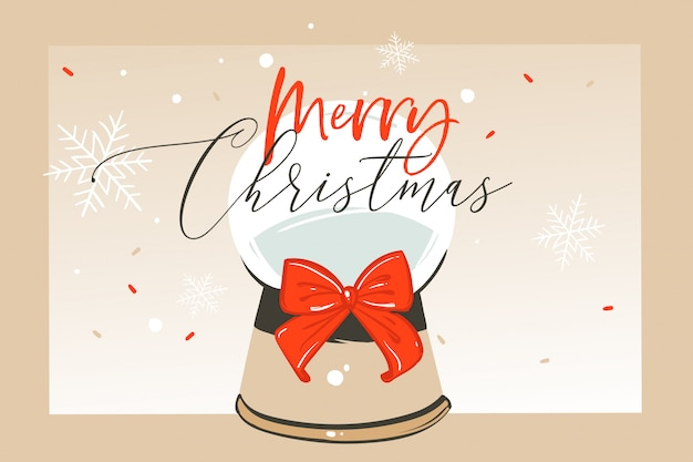 Hand getekende abstracte leuke merry christmas tijd cartoon afbeelding wenskaart met glazen bol sneeuwbol en xmas kalligrafie op ambachtelijke achtergrond.