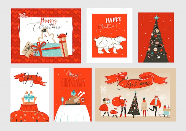 Hand getekende abstracte leuke merry christmas tijd cartoon illustraties wenskaarten en achtergronden collectie set met geschenkdozen, kerstboom en kalligrafie op ambachtelijke achtergrond.