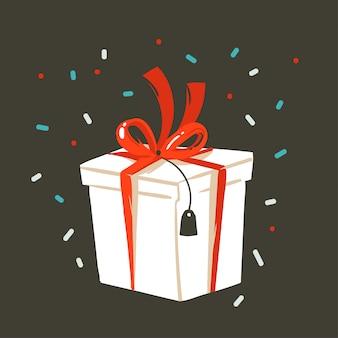 Hand getekende abstracte leuke prettige kerstdagen en gelukkig nieuwjaar tijd cartoon afbeelding wenskaart met xmas verrassing geschenkdoos en confetti op zwarte achtergrond