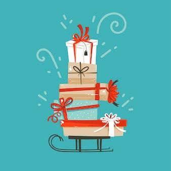 Hand getekende abstracte leuke prettige kerstdagen en gelukkig nieuwjaar tijd cartoon afbeelding wenskaart met xmas verrassing geschenkdozen op blauwe achtergrond