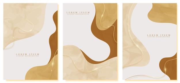 Hand getekende abstracte luxe cover ontwerpset met gouden lijnen schitteren op gele pastel achtergrond. minimale trend modern concept. vector illustratie.