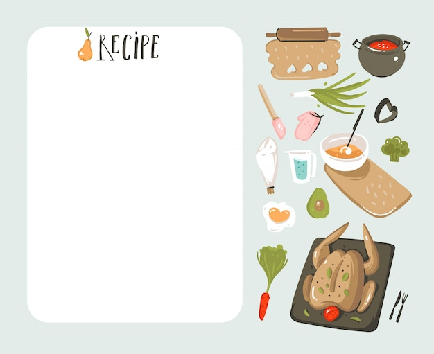 Hand getekende abstracte moderne cartoon koken studio illustraties recept kaart planner templete met voedsel pictogrammen, groenten en handgeschreven kalligrafie op witte achtergrond