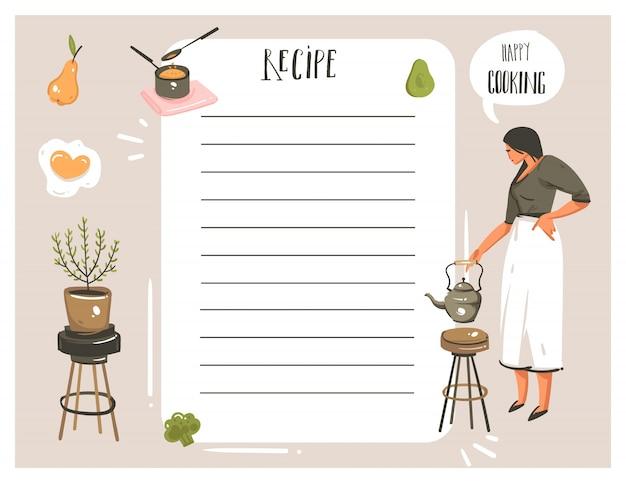 Hand getekende abstracte moderne cartoon koken studio illustraties recept kaart planner templete met vrouw, eten, groenten en handgeschreven kalligrafie op witte achtergrond