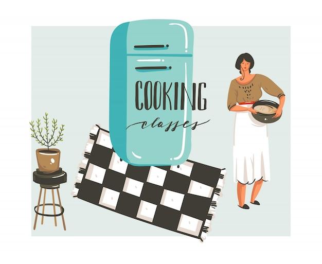 Hand getekende abstracte moderne cartoon kookles illustraties poster met retro vintage vrouw chef, koelkast en handgeschreven kalligrafie kooklessen op witte achtergrond