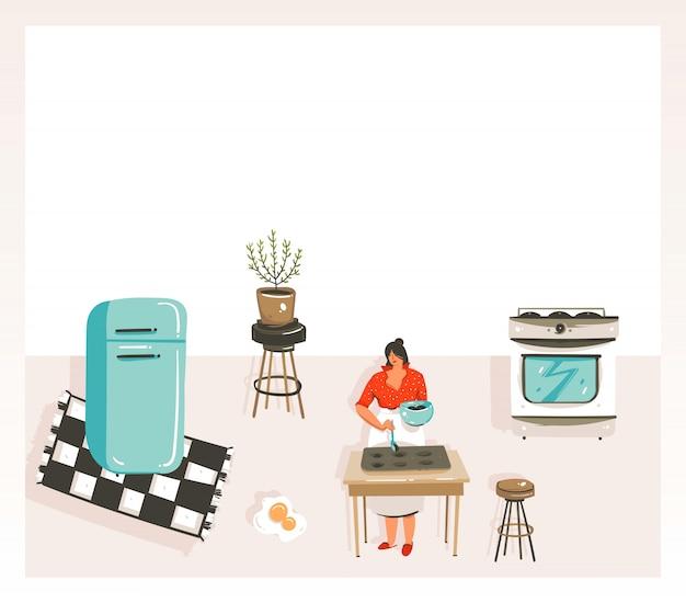 Hand getekende abstracte moderne cartoon kookles illustraties poster met retro vintage vrouw chef, koelkast en plaats voor uw tekst op witte achtergrond