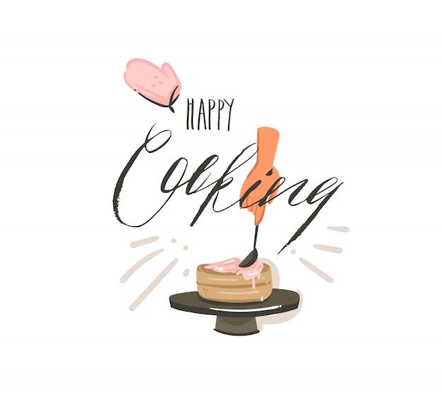 Hand getekende abstracte moderne cartoon kooktijd leuke illustraties ondertekenen met vrouw handen maken van een taart en moderne handgeschreven kalligrafie happy cooking op witte achtergrond