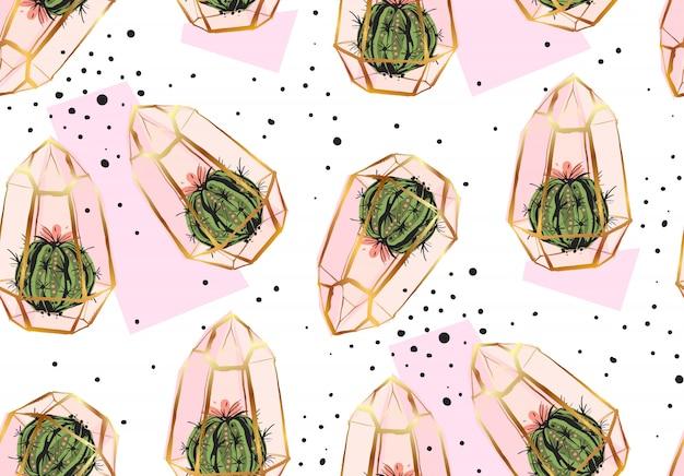 Hand getekende abstracte naadloze patroon met gouden terrarium, stippen textuur en cactussen planten in pastelkleuren op witte bakground. voor decoratie, mode, stof, inpakpapier.